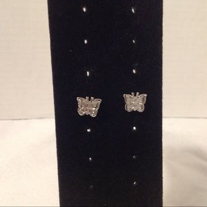Silver Tone 3D Butterfly Stud Earrings